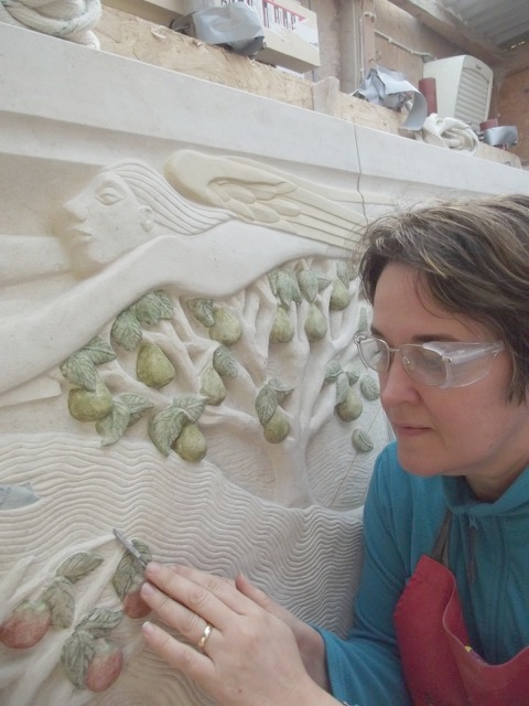 St Georges Gt Bromley Essex south aisle sculpture the river of life sculptor at work