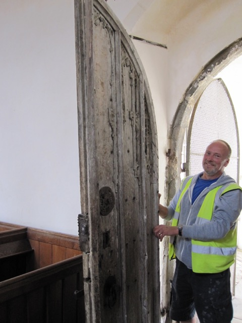 St George's Gt Bromley Essex 2015 South door removed to take away for specialist restoration