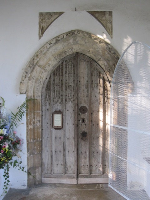St George's Church Great Bromley Essex 2015 general view of repaired south door and bird cage door