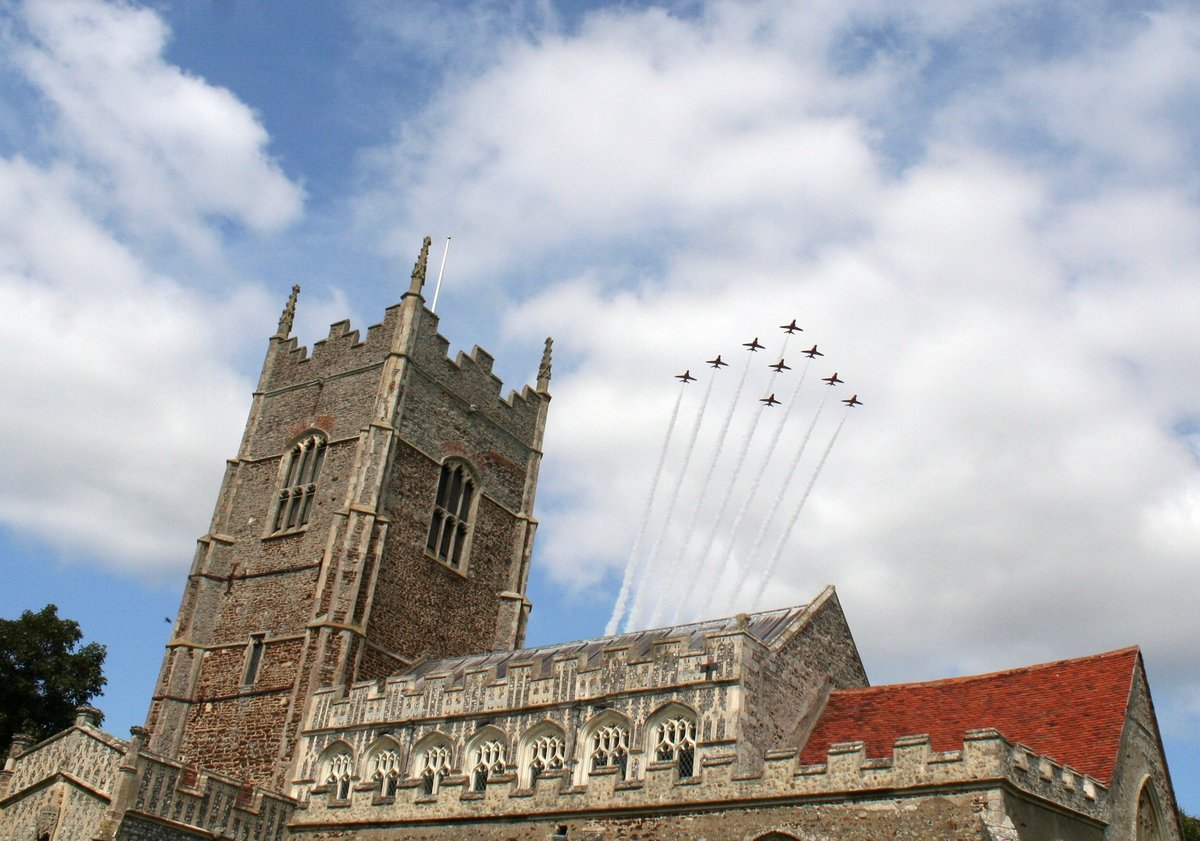 Red Arrows over St George's church