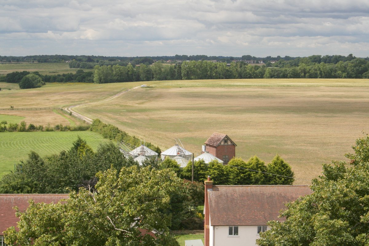 view of fields from St George's church tower
